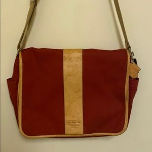 Red Coach fabric briefcase